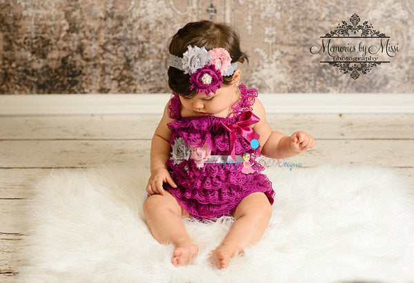 Trio Clustered Raspberry Grey Lace headband - Happy BOWtique - children's clothing, Baby Girl clothing