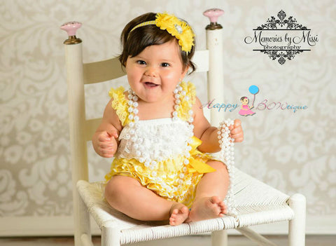 Sunny yellow Chevron Petti Dress - Happy BOWtique - children's clothing, Baby Girl clothing