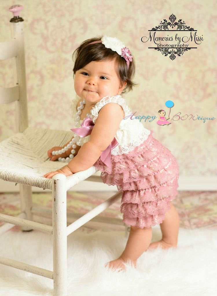 Girl Ivory Dusty Rose Lace Dress ~ Baby Girl Petti Lace Dress  ~ This dress is gorgeous on. ~ Made of lovely layers of Ivory and dusty Rose laces!