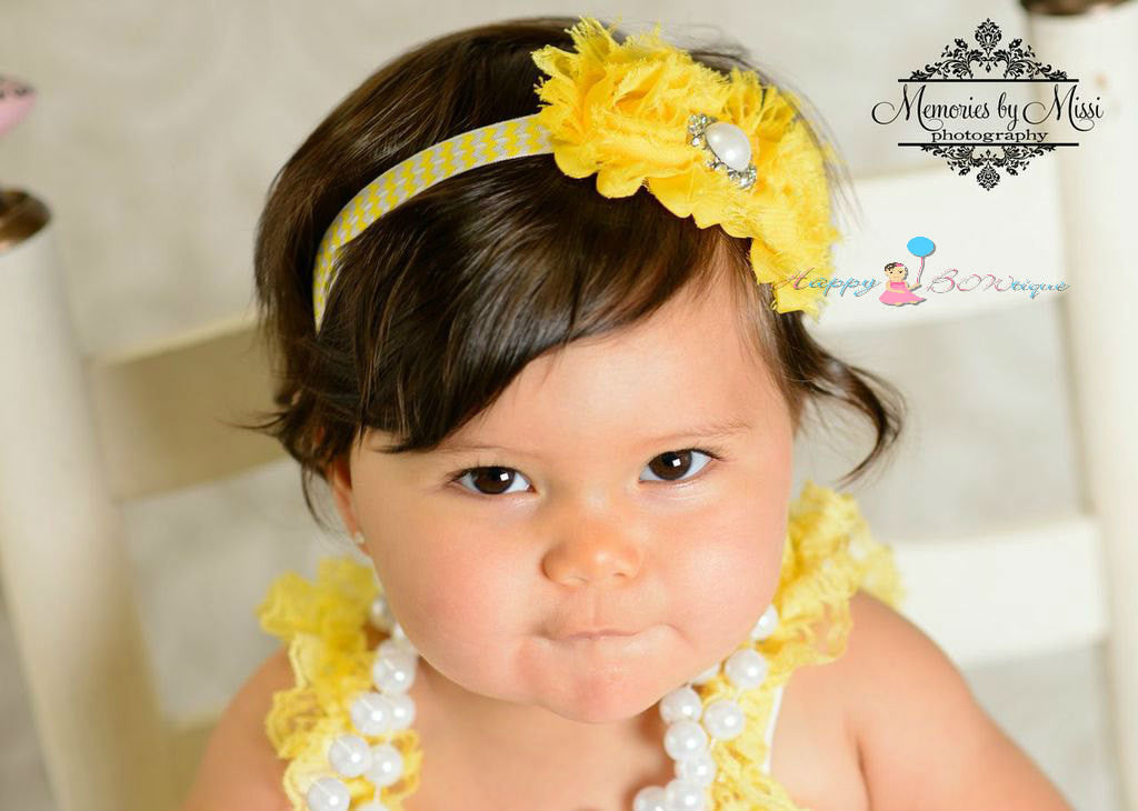 Duo Shabby Yellow Chevron Headband - Happy BOWtique - children's clothing, Baby Girl clothing
