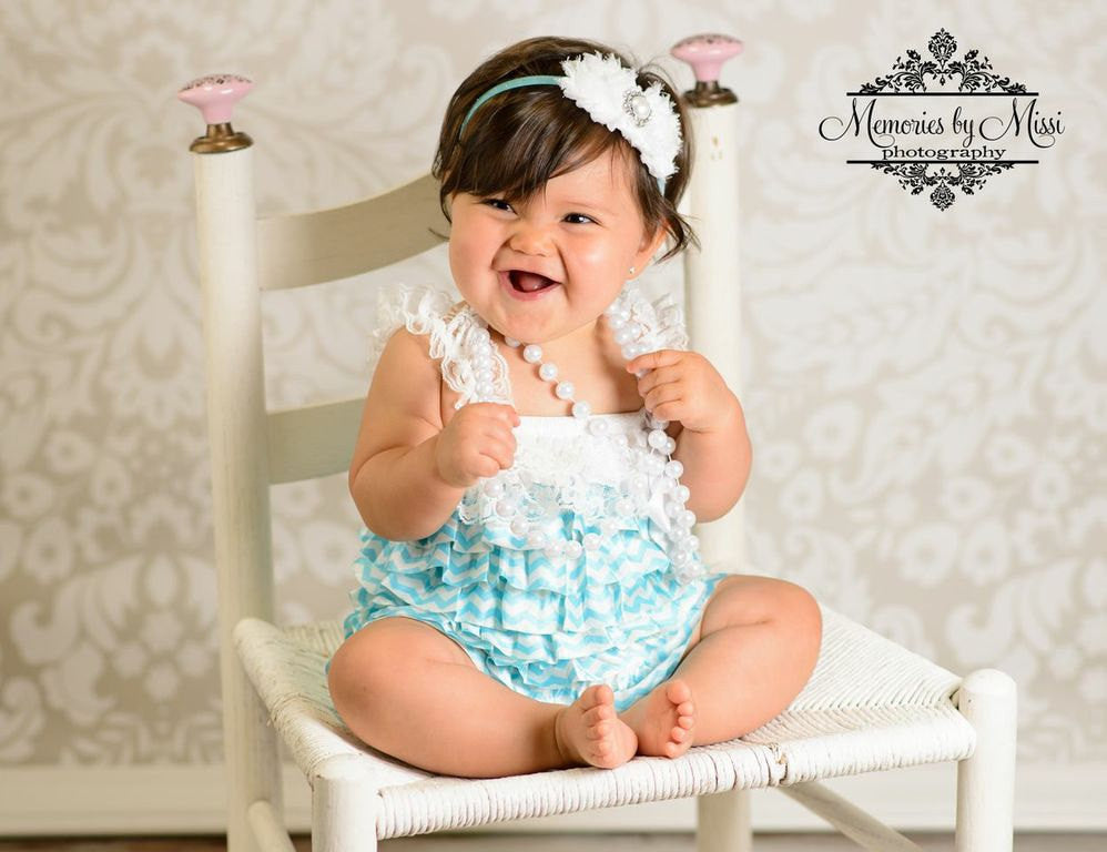 Duo Shabby White Blue Headband - Happy BOWtique - children's clothing, Baby Girl clothing