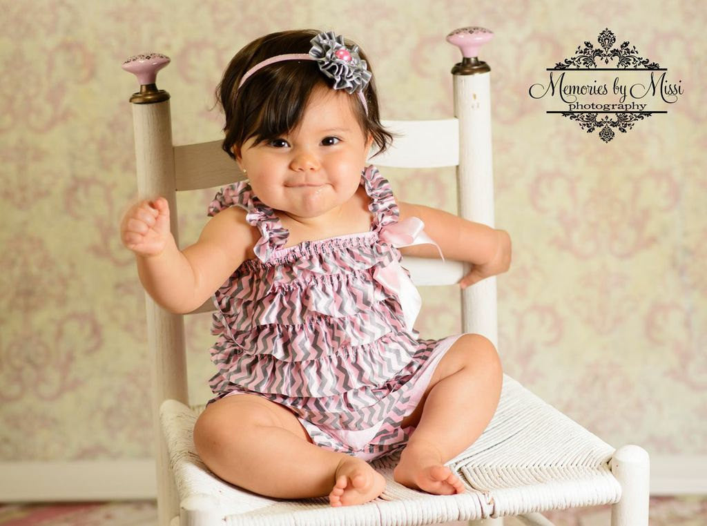 Silver Pink Chevron Satin Petti Lace Romper - Happy BOWtique - children's clothing, Baby Girl clothing