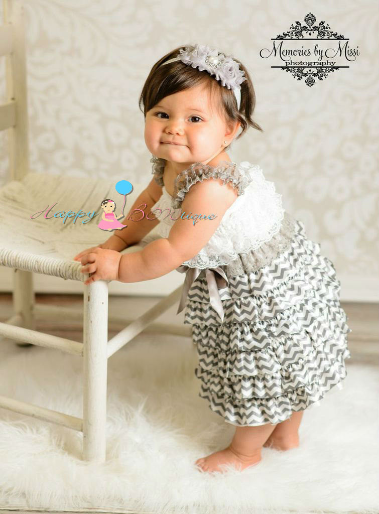 Silver Grey Chevron Petti Dress - Happy BOWtique - children's clothing, Baby Girl clothing