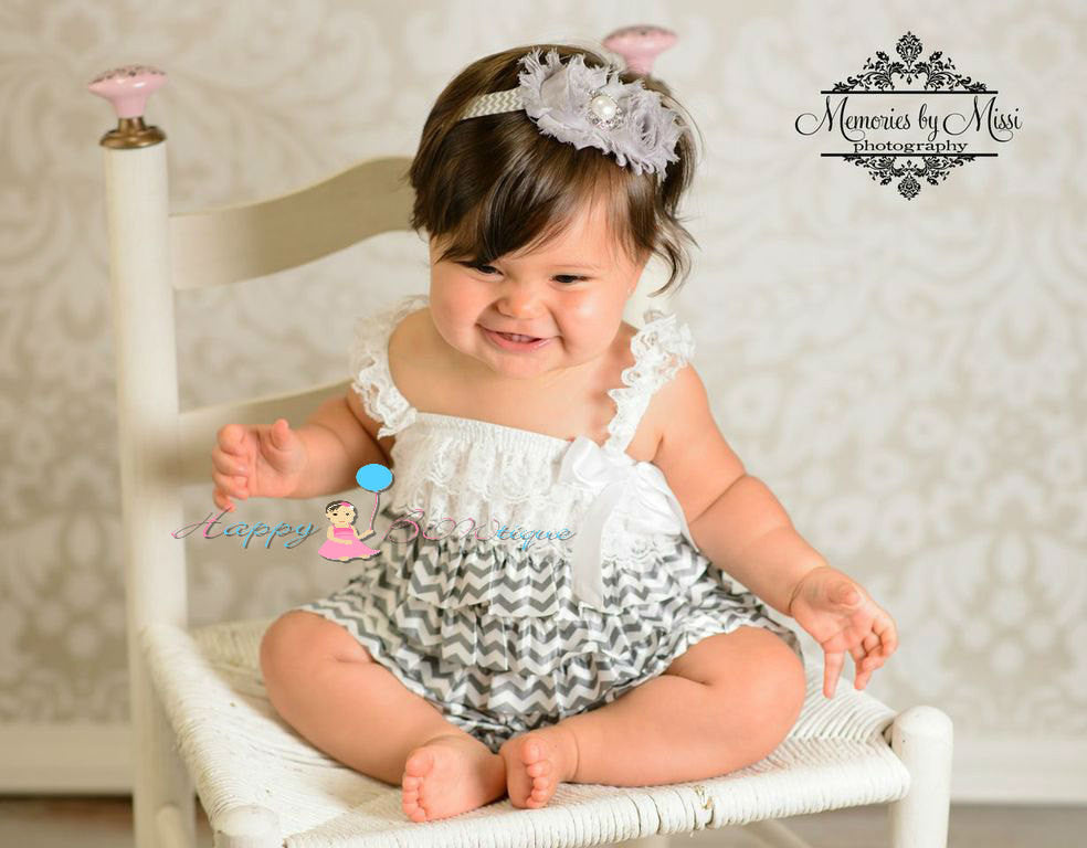 Silver Grey Chevron Petti Romper - Happy BOWtique - children's clothing, Baby Girl clothing