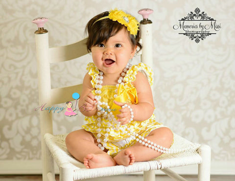 Sunny Yellow Chevron Petti Romper - Happy BOWtique - children's clothing, Baby Girl clothing