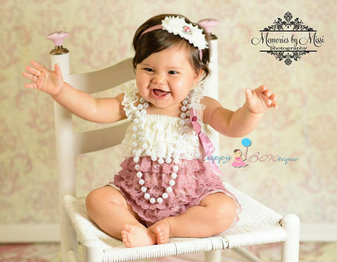 Baby Girl's Romper, Girl's Dusty Ivory Rose Lace Romper,Cake Smash outfit-Happy BOWtique- children's clothing