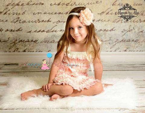 Large Peaches and Cream Lace flower puff headband - Happy BOWtique - children's clothing, Baby Girl clothing