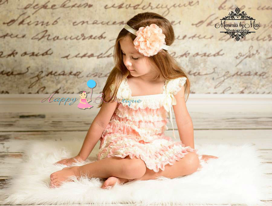 Ivory Blush Peach Lace Dress - Happy BOWtique - children's clothing, Baby Girl clothing