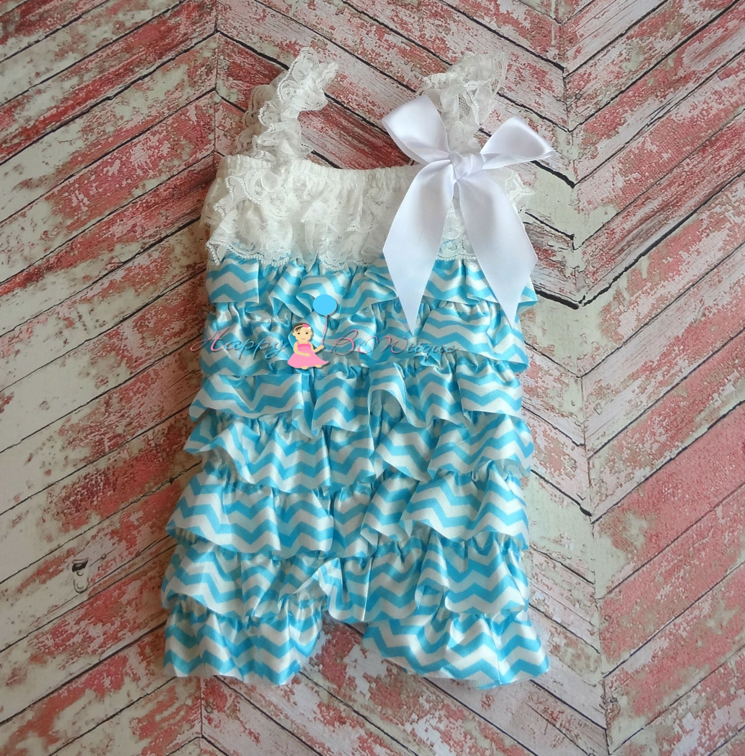 Stunny Blue Chevron Petti Romper - Happy BOWtique - children's clothing, Baby Girl clothing