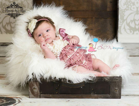 Baby Girl coming home outfit, Dusty Ivory Rose Lace Romper - Happy BOWtique - children's clothing, Baby Girl clothing