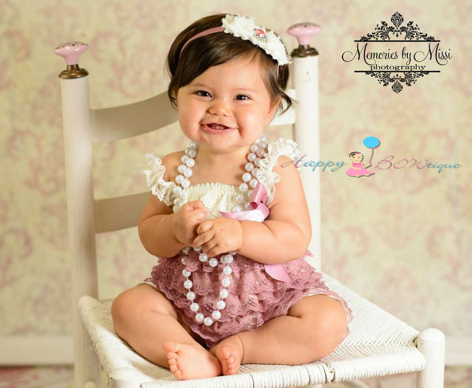 Girl Ivory Dusty Rose Lace Dress ~ Baby Girl Petti Lace Dress - Happy BOWtique - children's clothing, Baby Girl clothing