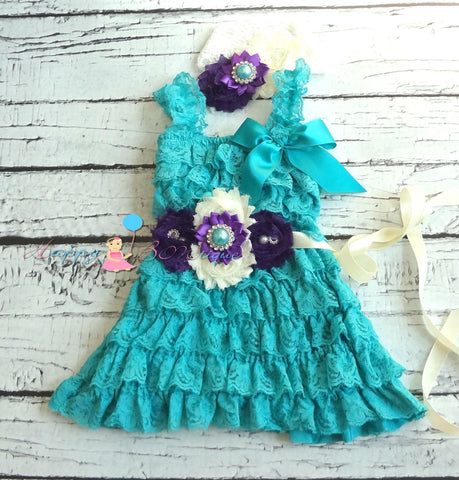 Girl's Lace Dress/ Purple Jade Girl's Lace dress - Happy BOWtique - children's clothing, Baby Girl clothing