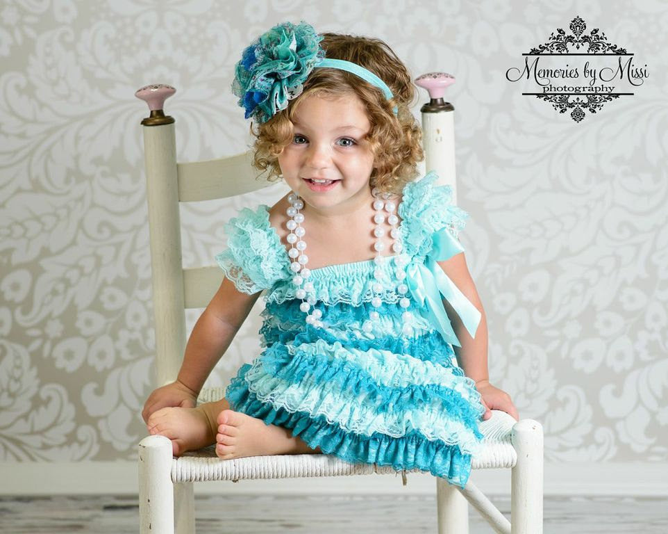 Under the sea Aqua Teal Petti Lace Dress - Happy BOWtique - children's clothing, Baby Girl clothing