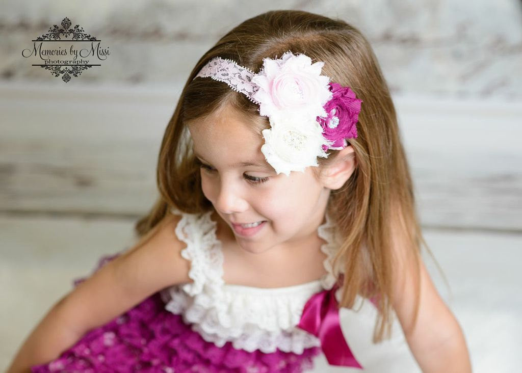 Trio Clustered Vintage Plum Rose Headband - Happy BOWtique - children's clothing, Baby Girl clothing