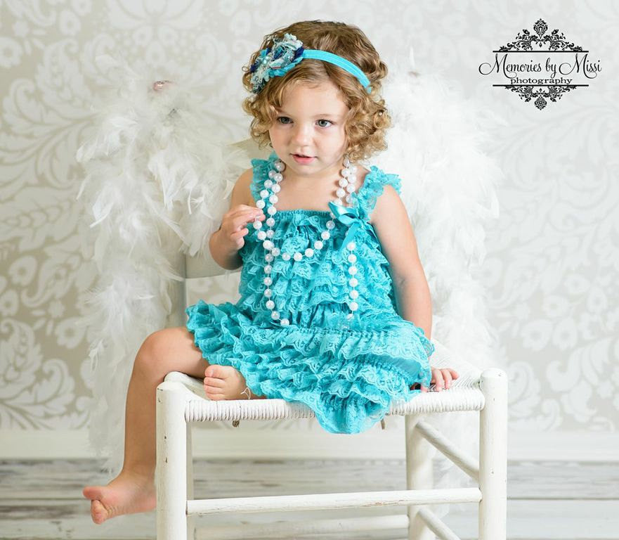 Baby Girl Dress, Girl China Jade lace Dress ~ Baby Girl Petti Lace Teal Dress