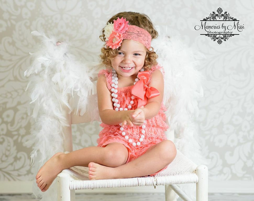 Coral Ivory Lace Petti Romper - Happy BOWtique - children's clothing, Baby Girl clothing
