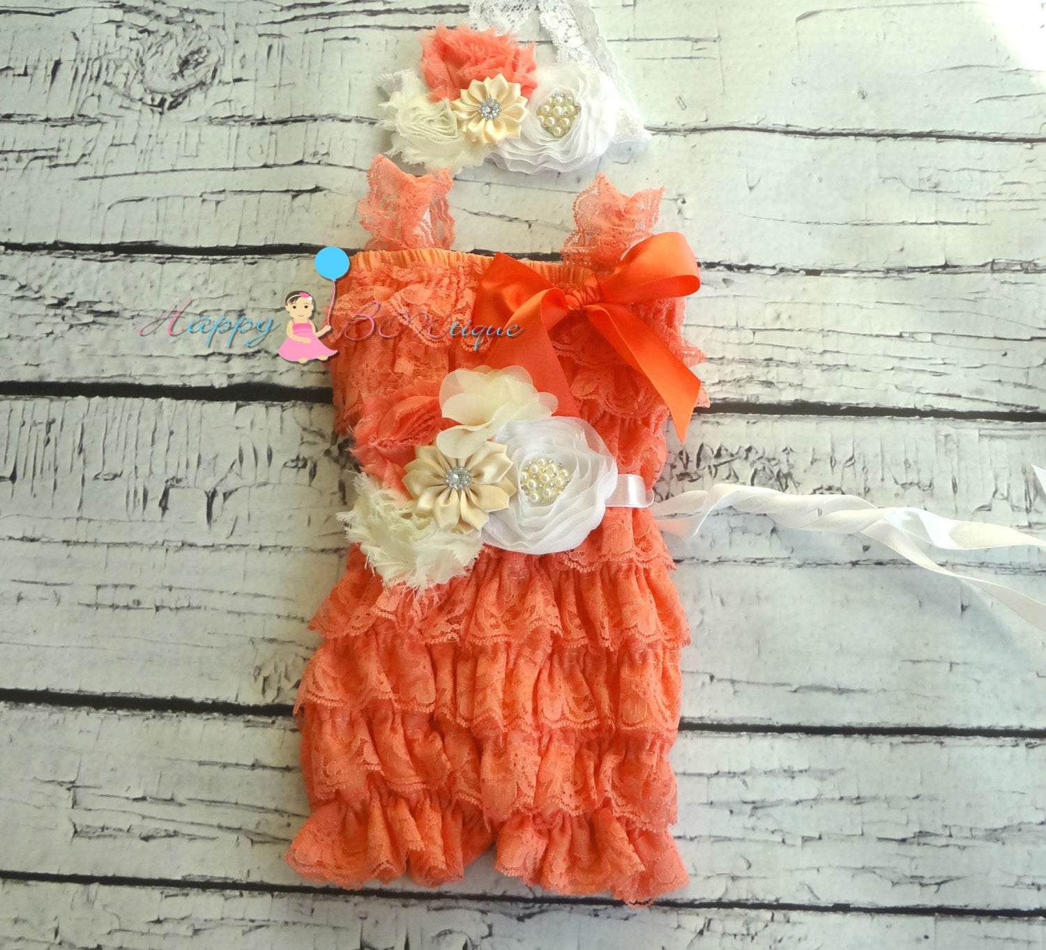 Embellished Coral Lace Romper set - Happy BOWtique - children's clothing, Baby Girl clothing
