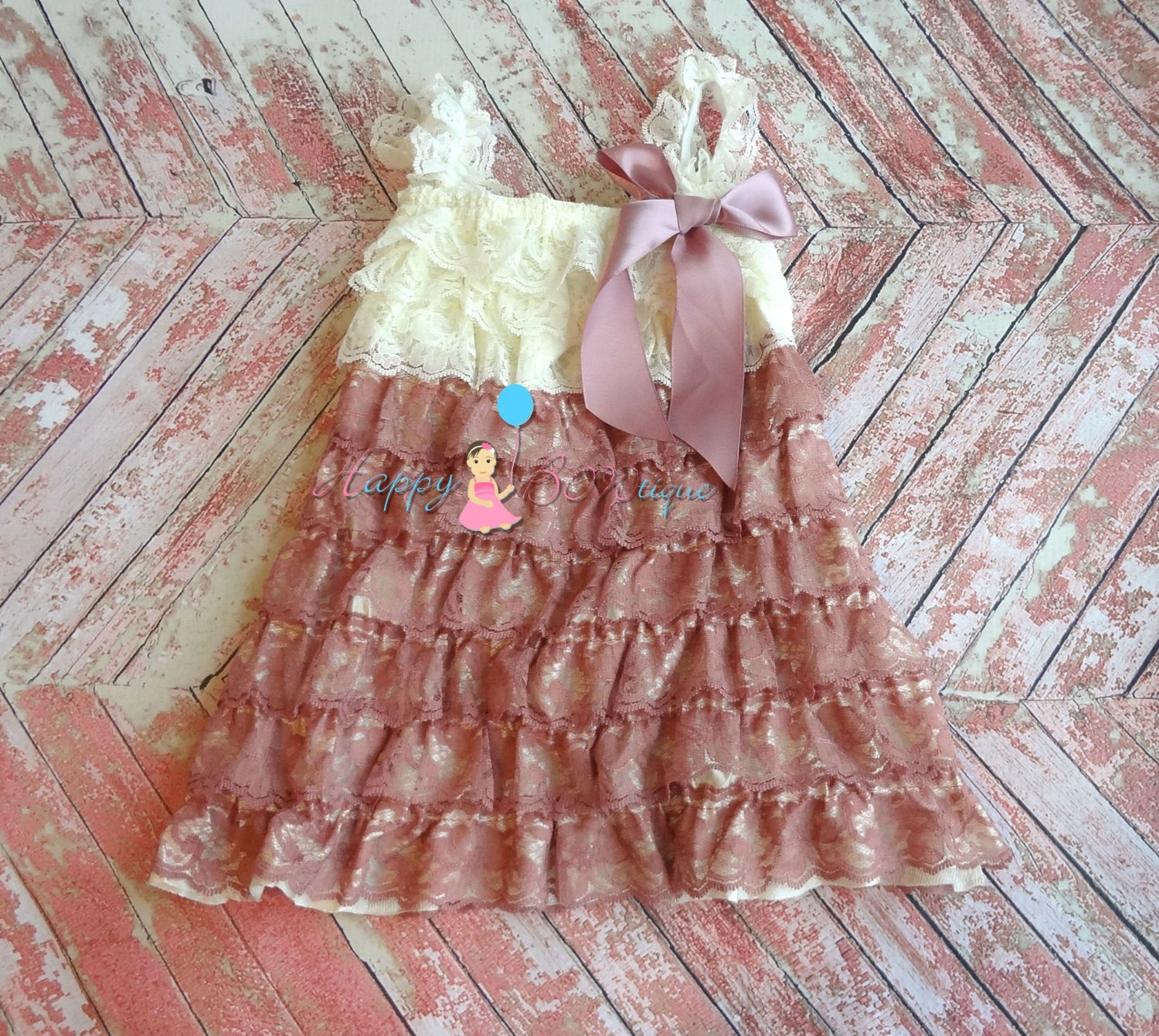 Dusty Champagne Rose Ivory Lace Dress set - Happy BOWtique - children's clothing, Baby Girl clothing
