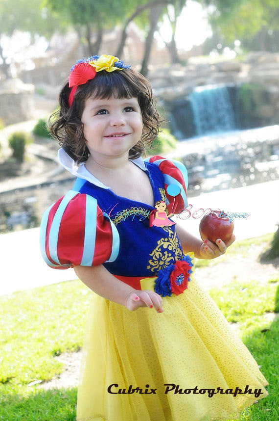 Trio Snow White headband / Princess Baby Girl Headband - Happy BOWtique - children's clothing, Baby Girl clothing