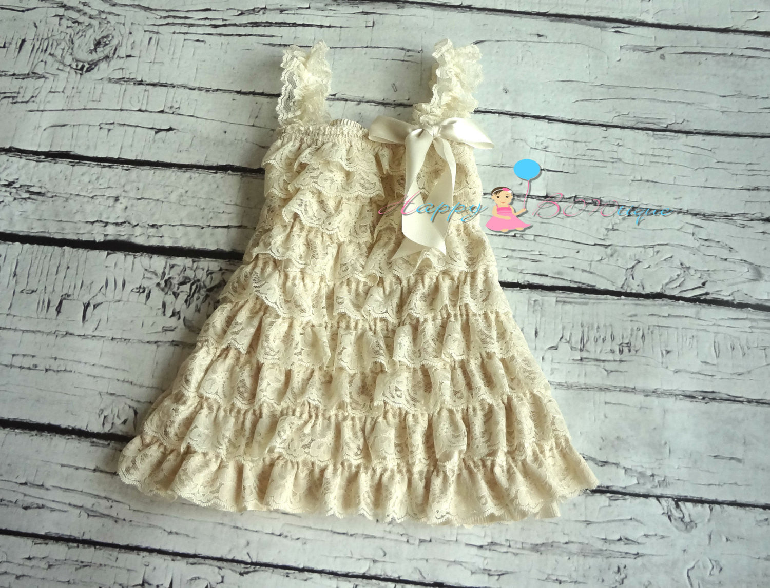 Burlap Champage Petti Lace Dress Set - Happy BOWtique - children's clothing, Baby Girl clothing