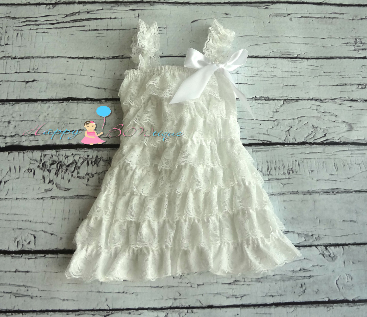 Vintage White Coral Girl's Lace Dress/ Girl's White Dress - Happy BOWtique - children's clothing, Baby Girl clothing