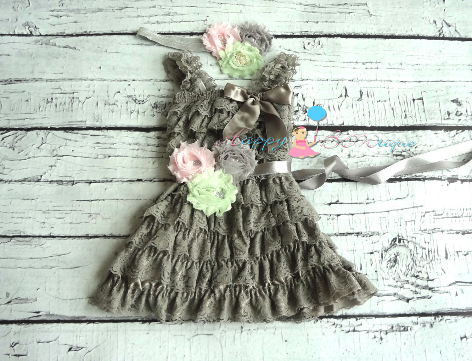 Vintage Grey Lace Dress - Happy BOWtique - children's clothing, Baby Girl clothing