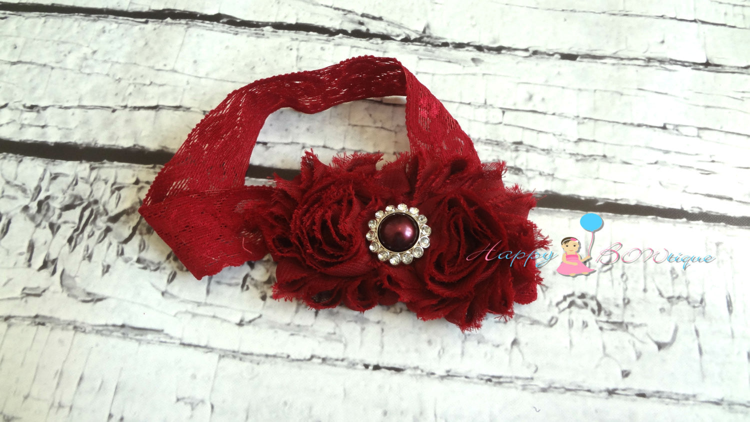 Duo Burgundy Lace Headband - Happy BOWtique - children's clothing, Baby Girl clothing