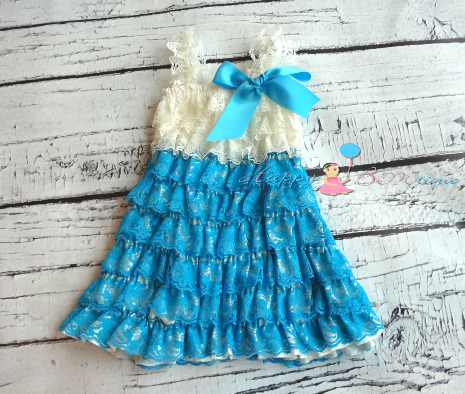 Girl's Lace Petti Dress/ Turquoise and Ivory Pink Girl's Dress Set - Happy BOWtique - children's clothing, Baby Girl clothing