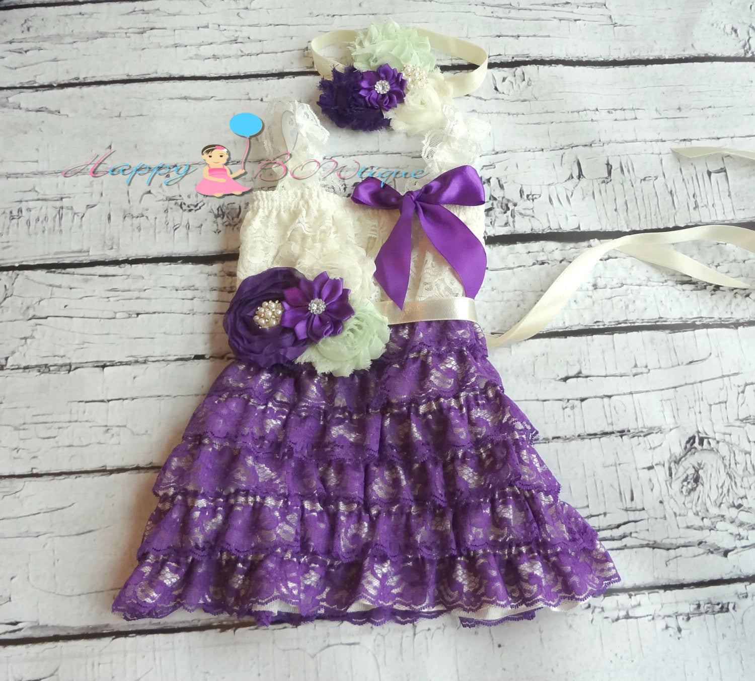 Girl's Ivory Mint Purple Dress Set/ Girl's Purple Dress - Happy BOWtique - children's clothing, Baby Girl clothing