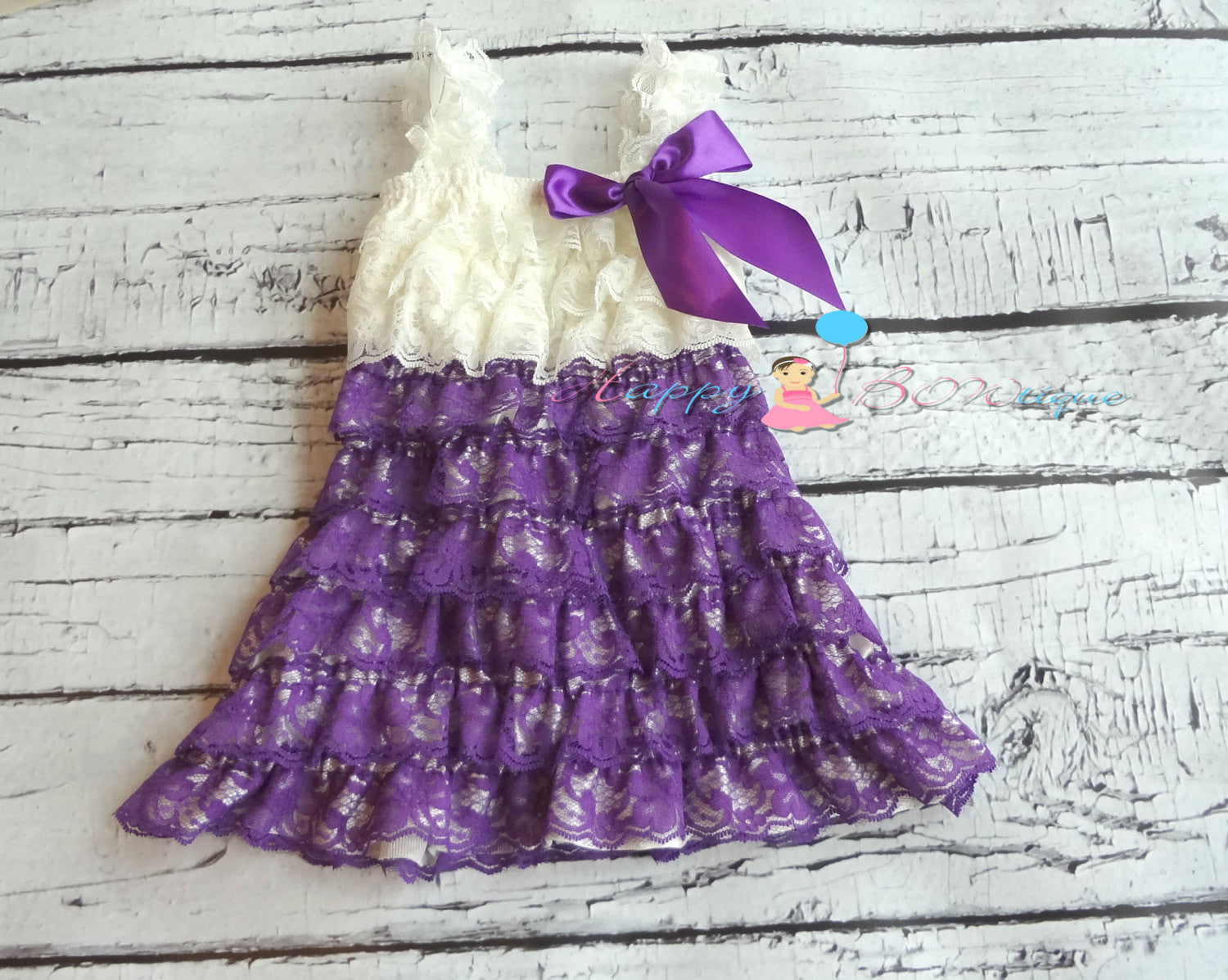 Girl Ivory Purple Vintage Lace Dress ~ Baby Girl Purple Lace Dress - Happy BOWtique - children's clothing, Baby Girl clothing