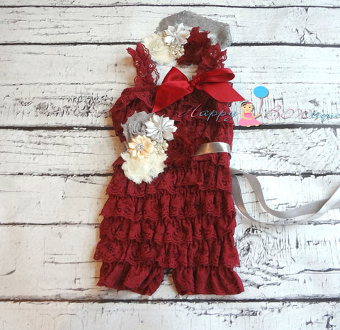 Burgundy Lace Romper set - Happy BOWtique - children's clothing, Baby Girl clothing