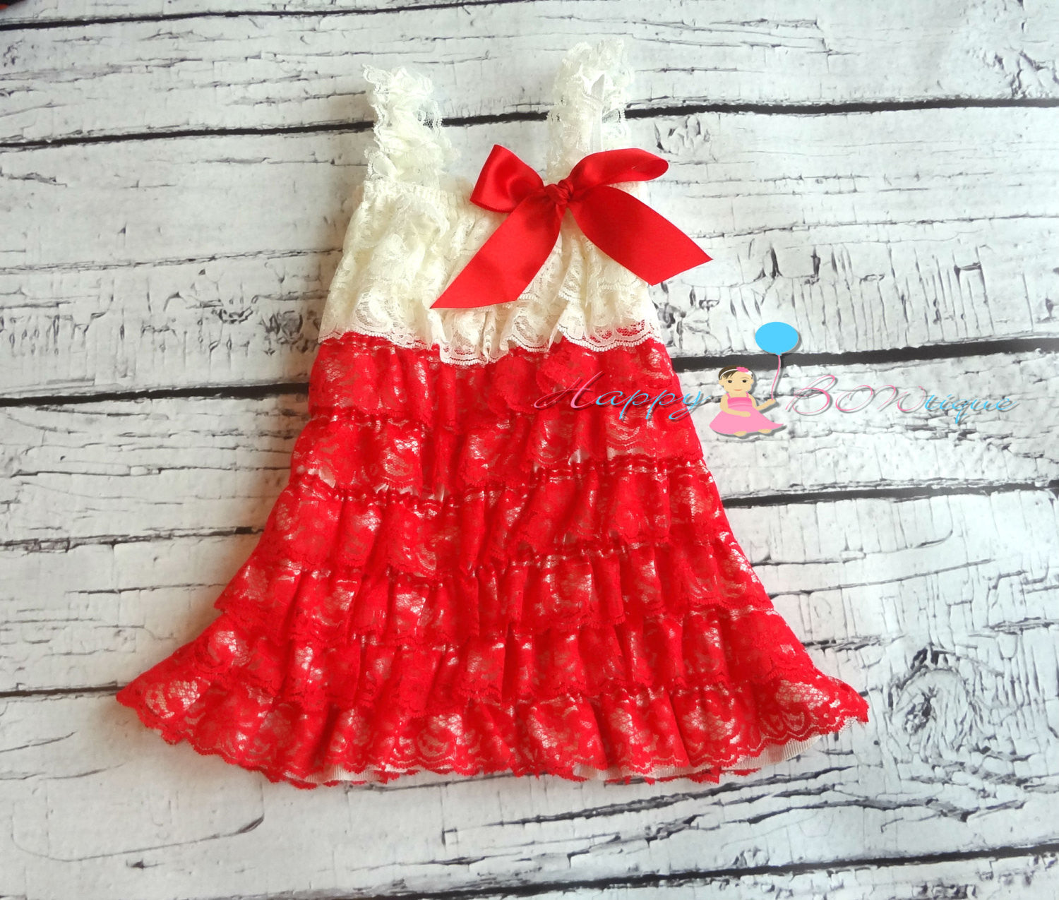 Girl's Ivory Red and black Lace Dress/ Girl's Red Dress - Happy BOWtique - children's clothing, Baby Girl clothing