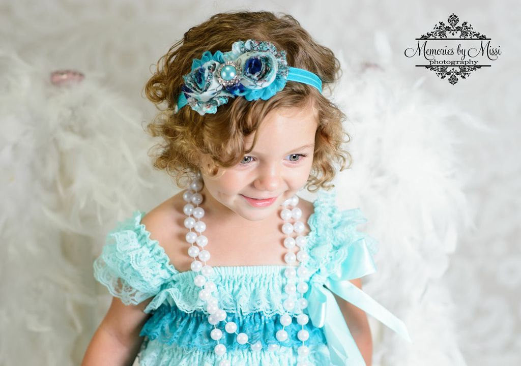 Duo Shabby Floral Peacock Girl Headband/ Girl's Peacock headband - Happy BOWtique - children's clothing, Baby Girl clothing