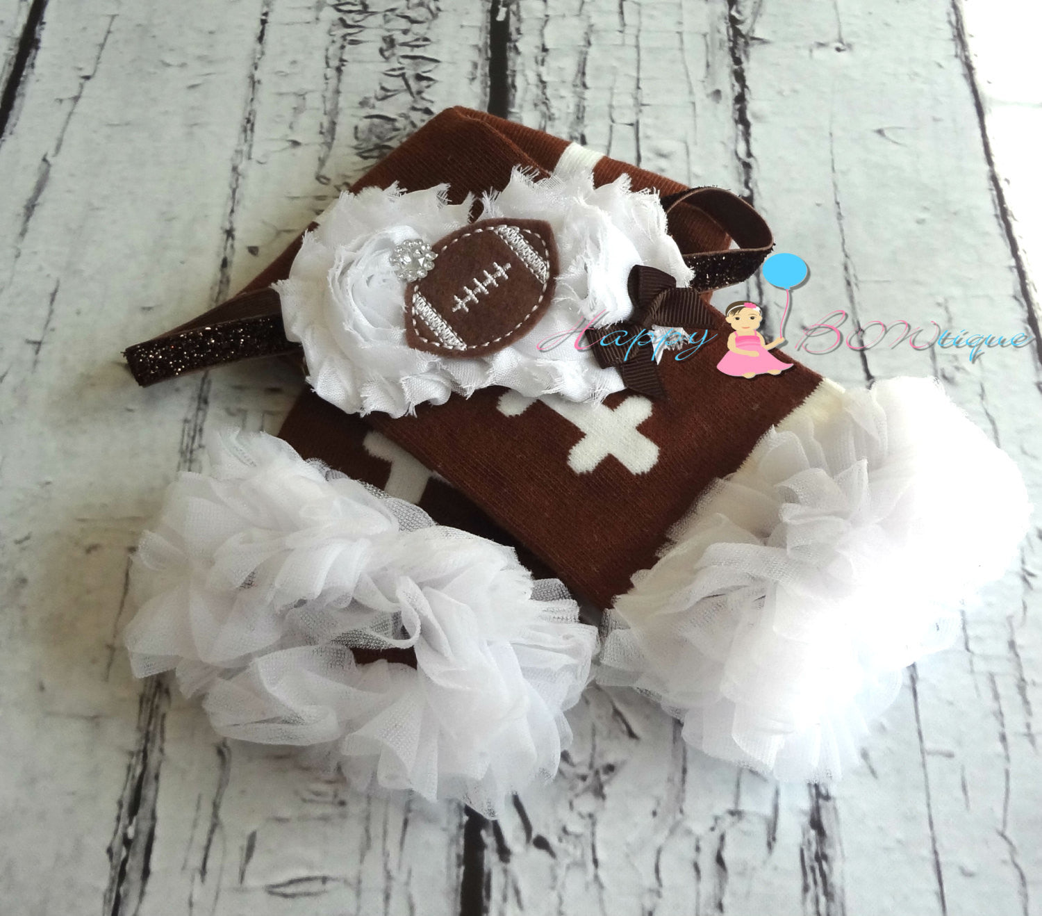Football tutu leg warmers set - Happy BOWtique - children's clothing, Baby Girl clothing