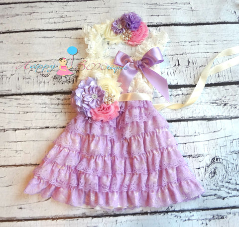 Baby Girl's Ivory Aqua Purple Lace Dress set