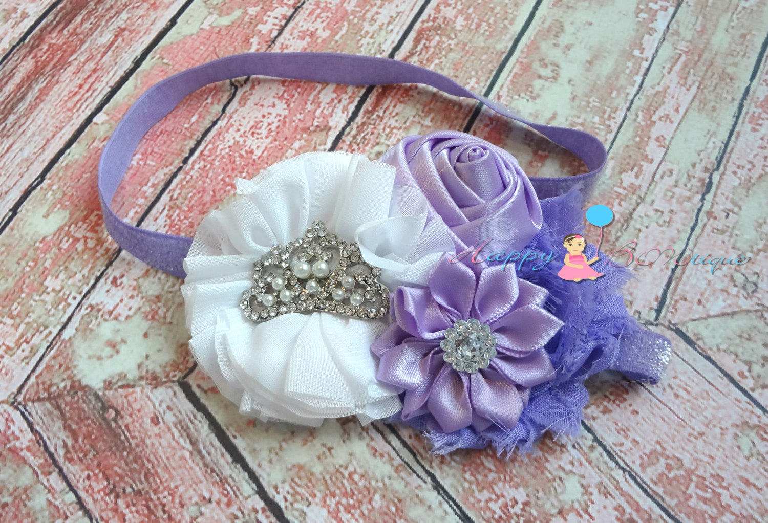 Purple Princess Tiara Headband - Happy BOWtique - children's clothing, Baby Girl clothing