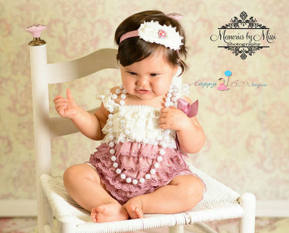 Duo Shabby Dusty Ivory Rose headband - Happy BOWtique - children's clothing, Baby Girl clothing