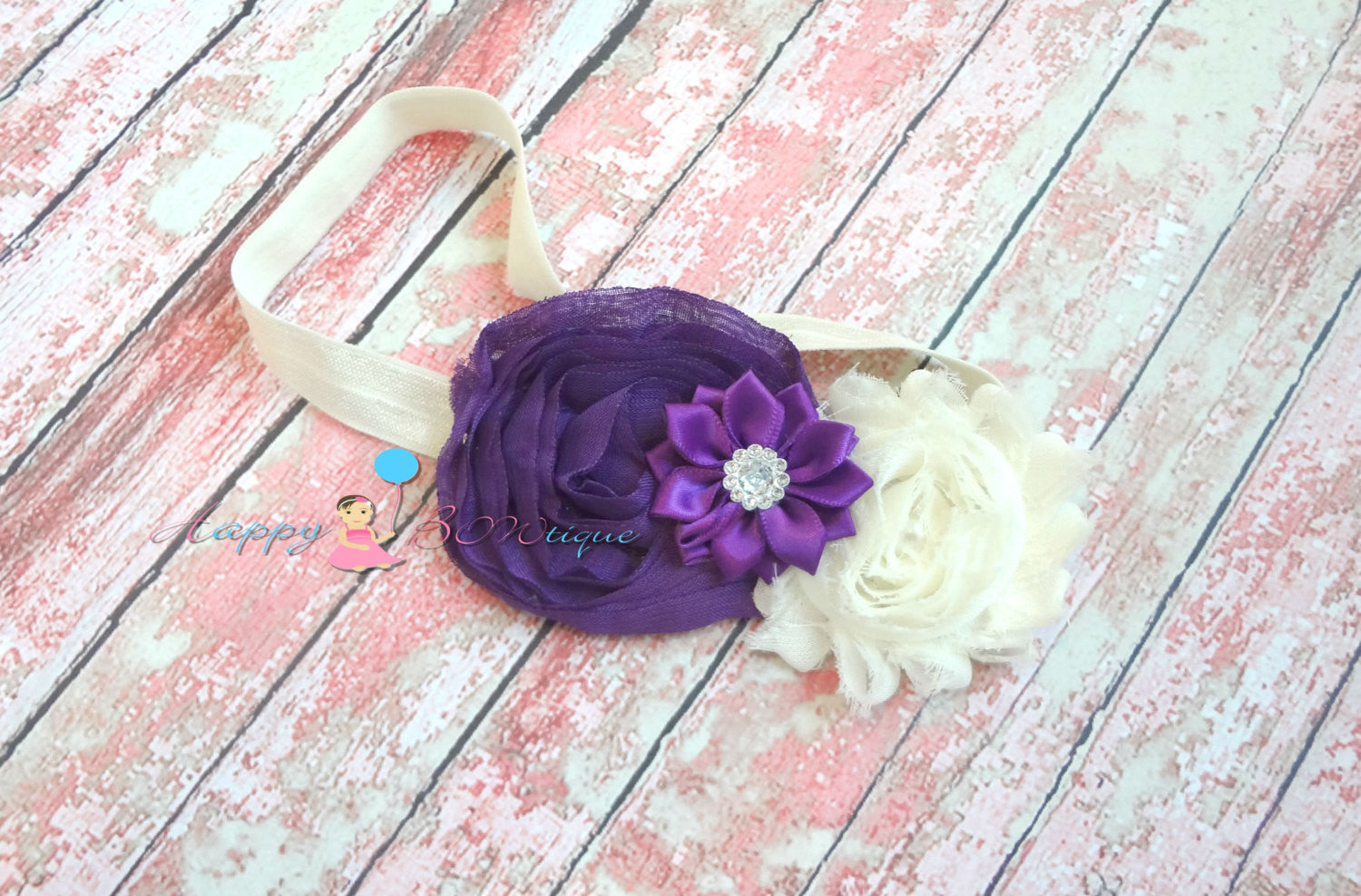 Ivory Purple Satin Chiffon Headband - Happy BOWtique - children's clothing, Baby Girl clothing