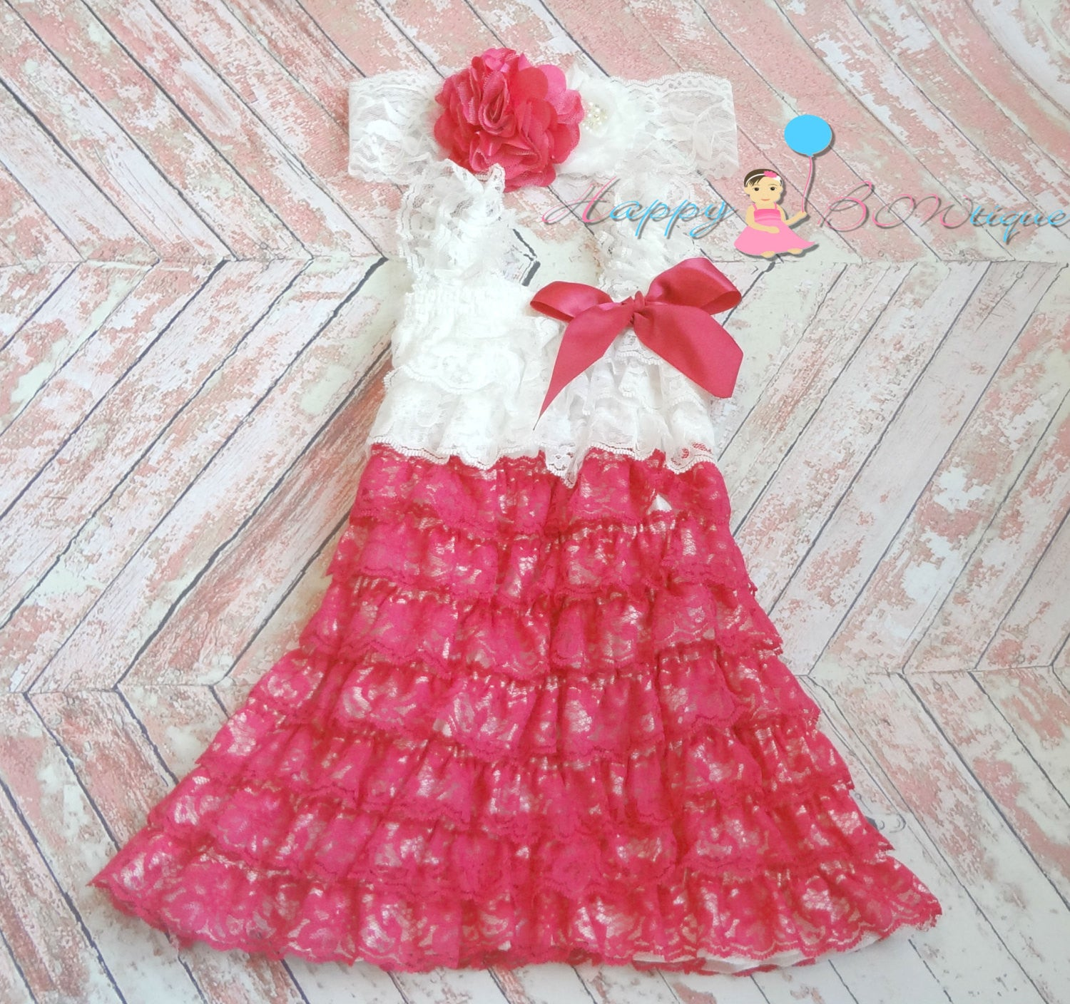 Girl's Fushia Dress/ Hot Pink White Girl's Lace Dress set - Happy BOWtique - children's clothing, Baby Girl clothing