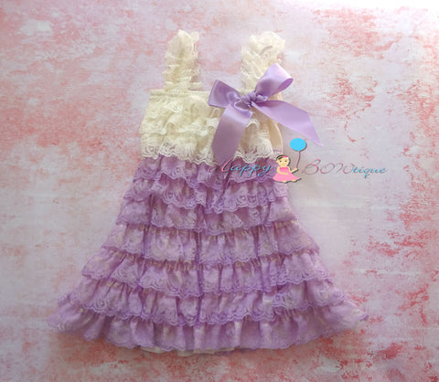 Girl Ivory Lilac Lace Dress ~ Girl Lavender Petti Lace Dress