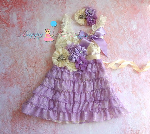 Girls Princess Dress/ Girl's Ivory Lilac Lace Dress set - Happy BOWtique - children's clothing, Baby Girl clothing