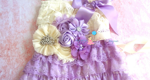 Flower Sash/ Stunning Princess Tiara flower sash - Happy BOWtique - children's clothing, Baby Girl clothing