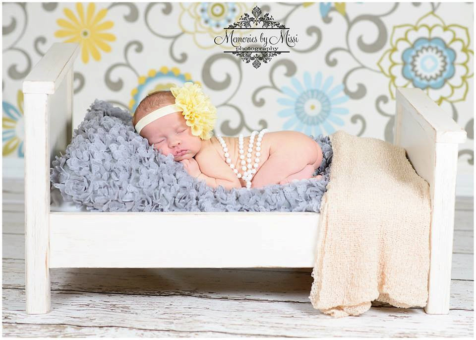Large Light Yellow Chiffon Lace flower puff headband - Happy BOWtique - children's clothing, Baby Girl clothing