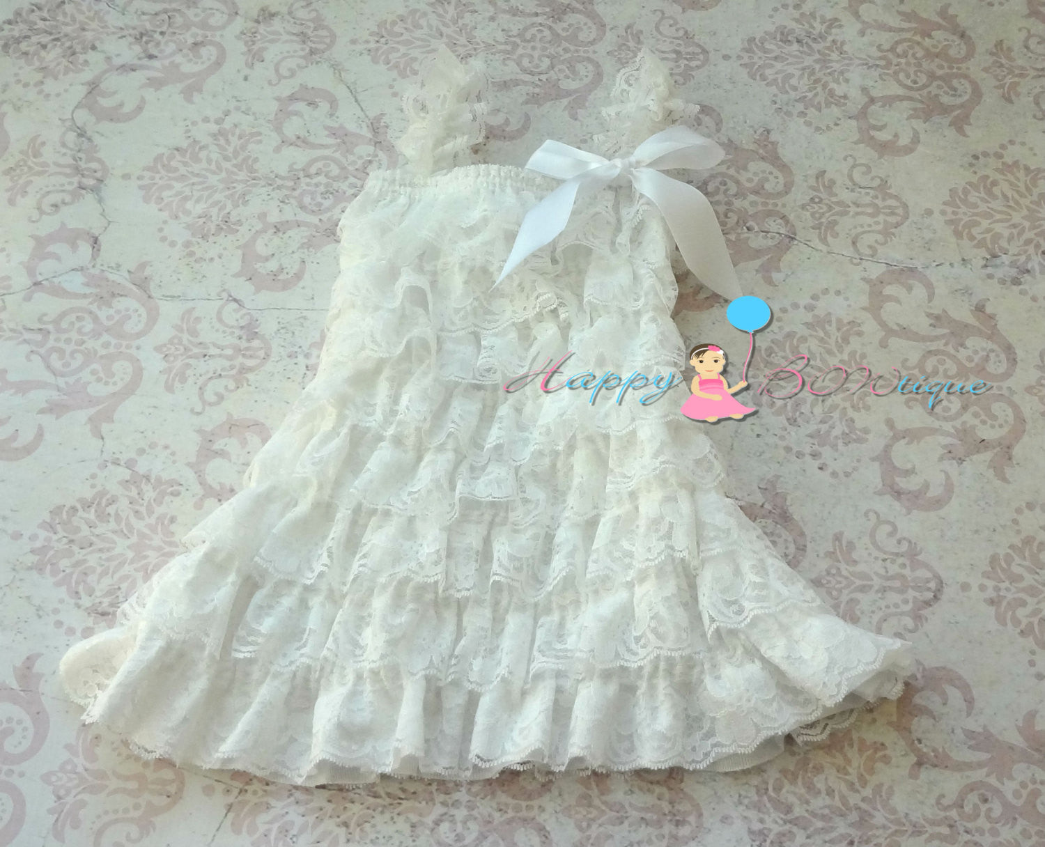 Girl Victorian White Lace Dress ~ Baby Girl Baptism White Dress - Happy BOWtique - children's clothing, Baby Girl clothing