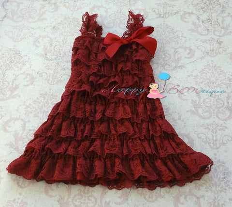 Burgundy Red Petti Lace Dress - Happy BOWtique - children's clothing, Baby Girl clothing