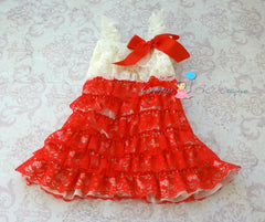 Ivory Red Lace Dress - Happy BOWtique - children's clothing, Baby Girl clothing