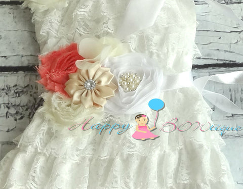 Coral White Flower sash/ Wedding Bridal Flower Sash - Happy BOWtique - children's clothing, Baby Girl clothing