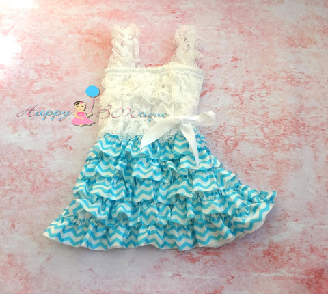 Stunning Blue Chevron Dress - Happy BOWtique - children's clothing, Baby Girl clothing