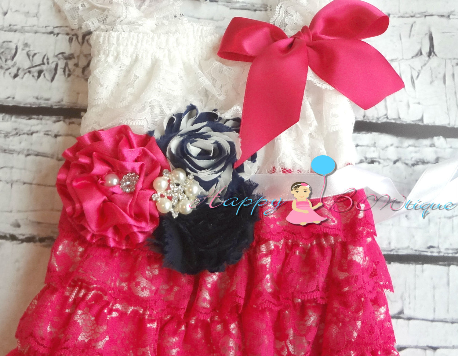 Hot Pink and Navy Flower sash/ Wedding Flower Sash - Happy BOWtique - children's clothing, Baby Girl clothing