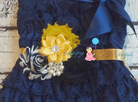 Nautical Gold Navy Flower sash/ Wedding Bridal Flower Sash - Happy BOWtique - children's clothing, Baby Girl clothing